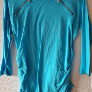 MK teal 3/4 sleeved shirt with zipper detailing.
